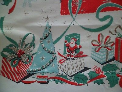 "Vintage Leacock Christmas Tablecloth ""Gift Box"" Mid Century Santa Claus Trees"