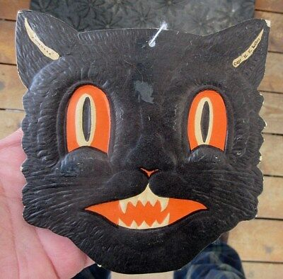Vintage H. E. Luhrs Halloween Black Cat Embossed Die Cut Decoration