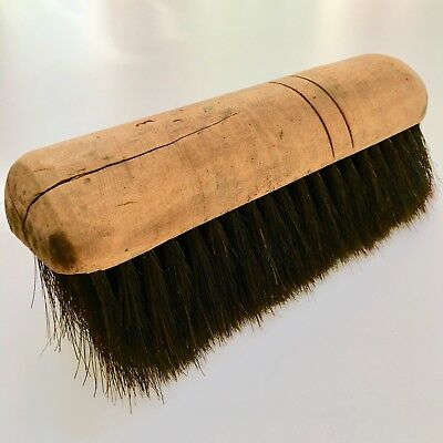1800's Antique Naturally Worn Patina Horse-Hair Brush Hand-Carved Wooden Handle