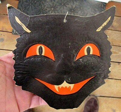 Vintage H E Luhrs Halloween Black Cat Embossed Die Cut Decoration Top Teeth Only