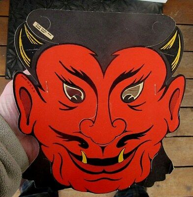 VINTAGE 1930's THIN CARDBOARD UNUSED DIME STORE HALLOWEEN DEVIL MASK