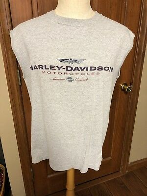 Men's Harley Davidson T-shirt Large Gray Sleeveless Myrtle Beach SC NWOT L95