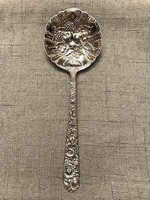 """S Kirk & Son Repousse Pattern Sterling Silver Berry Dessert Serving Spoon 7.5"""""""