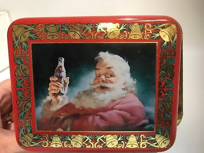 "Coca-Cola Santa Tin with Handles Santa Claus Tin, Coke Tin, 3 1/4"" Tall"