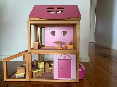 Fun Handmade Wooden Dollhouse Pink, modular & easy to play with, 58cm high