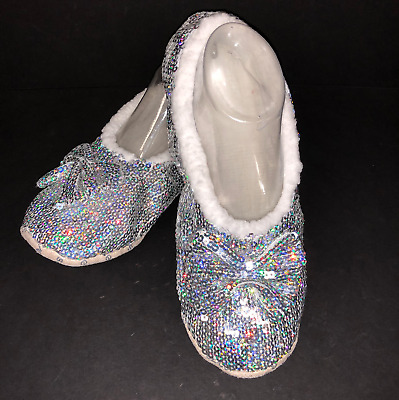 SNOOZIES! Women's Slippers Ballerina Silver SEQUIN Bling ~ Shoe Size 9/10 LARGE