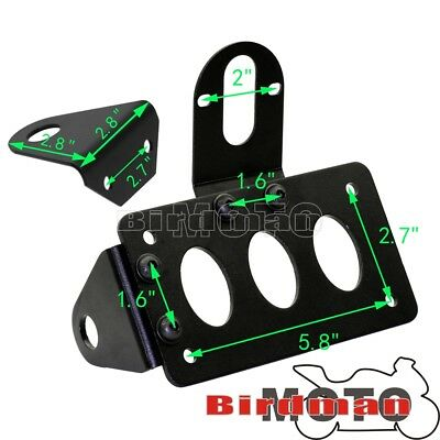 Black Vertical Side Mount License Plate Bracket For Harley Bobber Chopper Custom