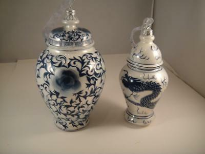 Vintage Mercury Glass Hand Painted Asian Christmas Ornaments Ginger Jars Vgc