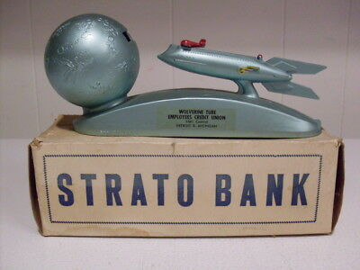 "Rare Near Mint ""Shoot The Moon"" Strato Rocket Ship Bank W/Box-Key & Information"