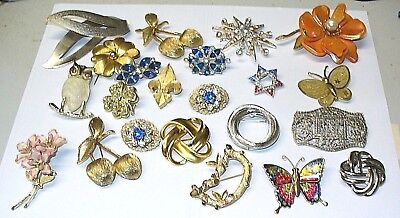 Lot Of 22 Pcs Costume Jewelry From Estate, Coventry, Rhinestones Brooches, Owl