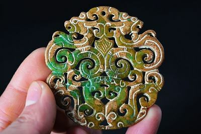 Exquisite Chinese Old Jade Carved Two-sided *dragon/Phoenix* lucky Pendant  G80