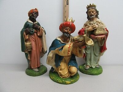 """VTG Nativity Creche Large Three Kings Figure Paper Mache Italy Hand Painted 12"""""""