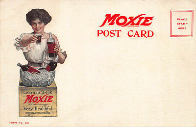 Moxie Box Beautiful Woman Offering a Moxie Drink Advertising Postcard