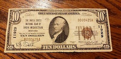 1929 $10 ***** Forbidden Title ****** Iron Mountain Mi ******** United States Nb