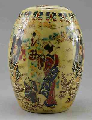 Collectible Decorated Old Handwork Porcelain Painted Lady Traveling Pot b02