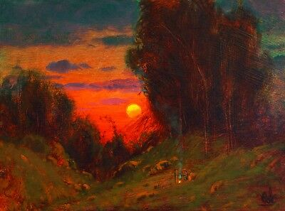 Original Vintage Landscape Red Impressionist Craftsman Oil Painting MAX COLE