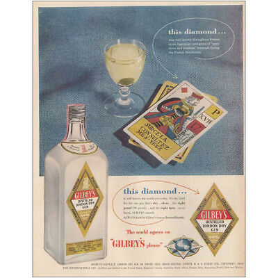1954 Gilbeys Gin: This Diamond, Cards Vintage Print Ad