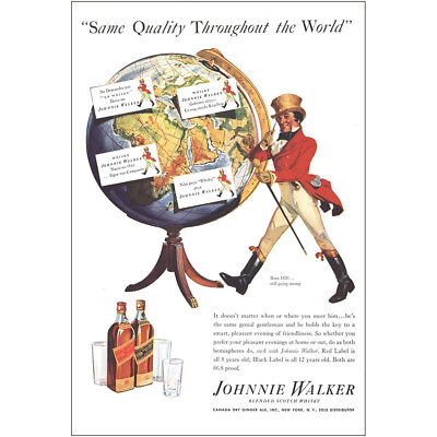 1937 Johnnie Walker: Same Quality Throughout the World Vintage Print Ad