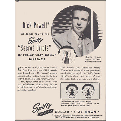 1948 Spiffy Secret Circle Collar: Dick Powell Vintage Print Ad