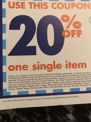 Bed Bath & Beyond Coupon 20% Off One Single Item