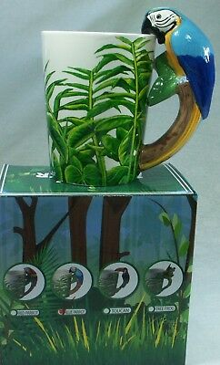 Ceramic Mug Blue & Yellow Macaw Parrot Rain Forest RAINFPARM NEW ***LAST ONE***