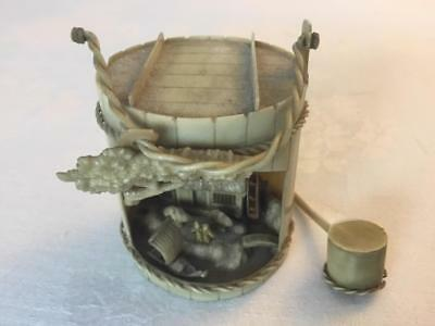 """Vintage Japanese Carved Celluloid Miniature Figural Diorama in 2""""H Bucket Ladle"""