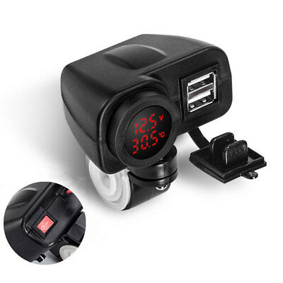 LED 12V Motorcycle USB Charger 2.1A+2.1A w/ Digital Voltmeter + Thermometer Red