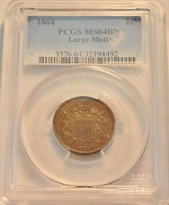 1864 2C PCGS MS 64 BN Large Motto Two Cent Piece, Scarce Near GEM Uncirculated