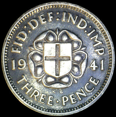 Great Britain 1941, 3 Pence KM# 848 {Silver}