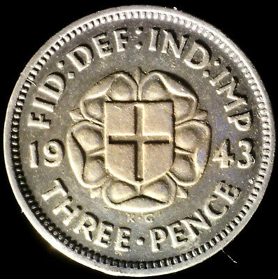 Great Britain 1943, 3 Pence KM# 848 {Silver}