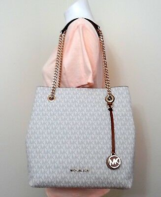622366ad2678 Michael Kors Jet Set Chain MK Signature Large Shoulder Tote in Vanilla Acorn