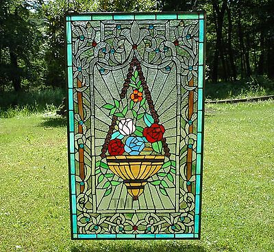 """20"""" x 34"""" Large Flower basket Handcrafted stained glass Jeweled window panel"""