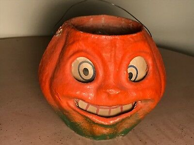 1940's PULP PAPER MACHE HALLOWEEN PUMPKIN JACK O LANTERN WITH INSERT - EXCELLENT