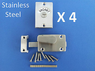 4 X Indicator Bolts Stainless Steel Bathroom Toilet Door Lock Vacant Engaged