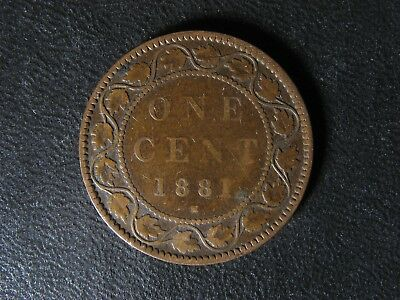 1 cent 1881H Canada one penny copper coin large Queen Victoria c ¢ VG-8