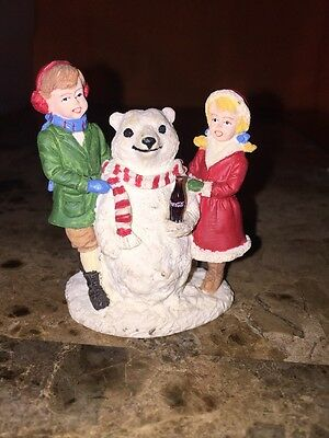 Coca Cola Town Square Collection 1994 Boy Girl Polar Bear Snowman
