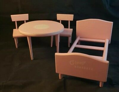 Vintage Vogue Ginny Round Table Two Chairs Bed Pink 1950s Doll Furniture Lot