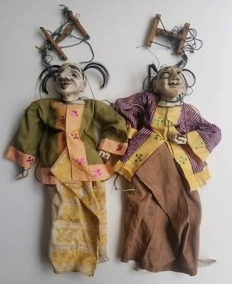 Pair of 19th c Asian Marionette Wood Carved Burmese Puppet Anatomically Correct