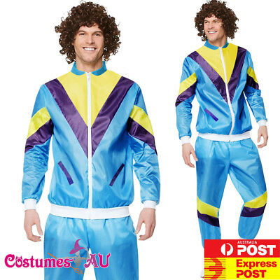 Mens 80s Costume Height Fashion Scouser Tracksuit Shell Suit Blue 1980s Party