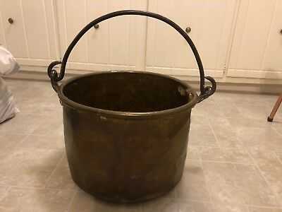 Antique Primitive Large Hand Forged Brass Pot Kettle With Iron Handle