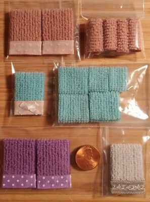Miniature Dollhouse 4x Sets of Bathroom Towels Huge Lot ** On SALE $9.99**