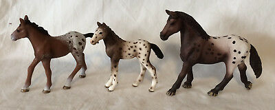 Schleich Lot of 3 APPALOOSA Horses Mare & 2 Foals - Animal Horse Figures Toys