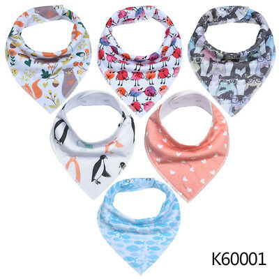 Baby Bandana Drool Bibs 6-pack Unisex Cotton Gift Set for Teething Drooling #D