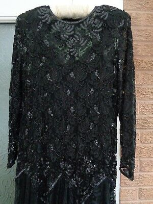 Fab French vintage black beaded & sequinned lace evening dress  -  UK size 16