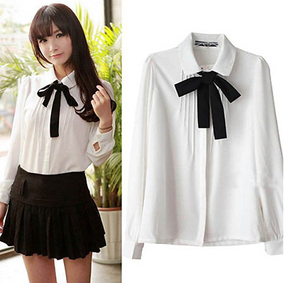 L Ivory Women Girls Sweet Bowknot Shirt Blouse Button-Down Shirts with Ribbon