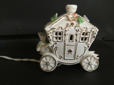 Night Light I.W. Rice Porcelain Carriage Cinderella-Style Vintage Price lowered