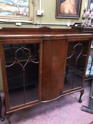 Antique Edwardian Wooden China Bookcase Cabinet Glass Shelves Ball Claw Feet