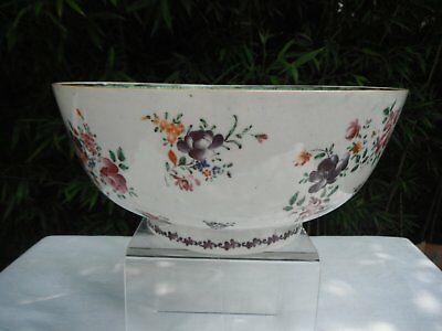 Bol punch porcelaine compagnie des indes chine 18éme famille rose 18th chinese