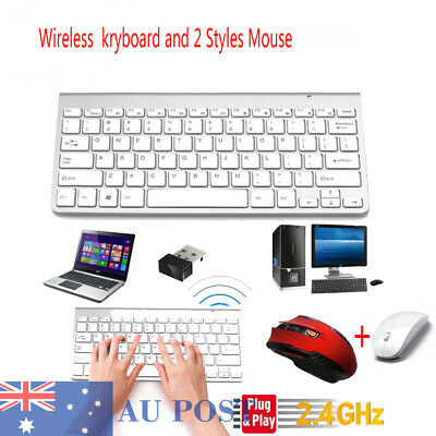 New Wireless Keyboard and 2pcs Cordless Mouse Combo for PC Laptop Home AU