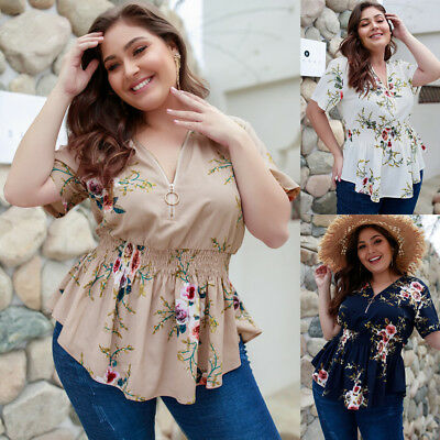 Women Floral Chiffon Blouse Holiday Beach Elastic Waist Zipper Tops Plus Size